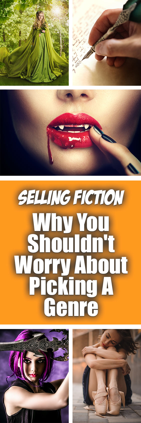 Selling Fiction - Why You Shouldn't Worry About Picking A Genre | You're selling fiction and are writing a new book, or thinking about a plot and characters for a new one, and worry about choosing a genre for your book.  Worse yet, your ideas for your storyline aren't staying in one specific genre and the mental gymnastics you are going through to reign it in are making you crazy. Should you be worrying about genre now as you write or plan your new book?